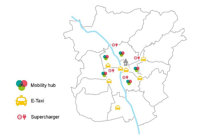 Grafik mit den geplanten tim-Standorten in Graz.