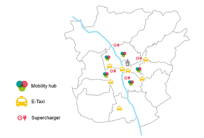 Graphic illustrating the planned tim-location in Graz.