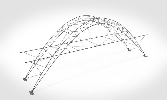 Graphical representation of an elegant arch-shaped bridge construction.