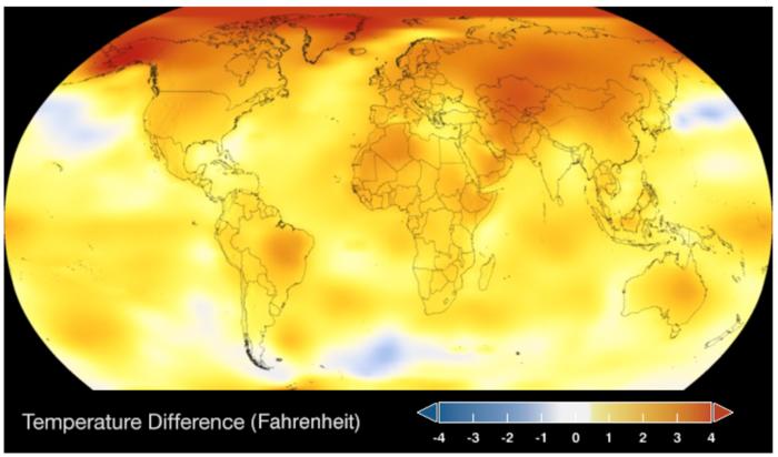 Eine Weltkufel. Das meiste ist Gelb. Eine Darstellung der weltweiten TEmperaturunterschiede
