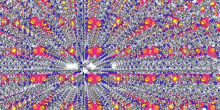 eine bunte Struktur mit blauen und gelben Bällen, pinken und weißen Strukturen