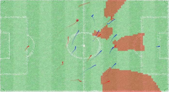 Ein schematisches Fußballfeld. In rot ist ein Ball eingezeichnet. Rote und blaue kurze Striche zeigen an, wo sich gerade Spielerinnen und Spieler aufhalten.