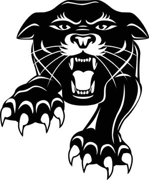 Black and white graphics of a Panther jumping from the front.