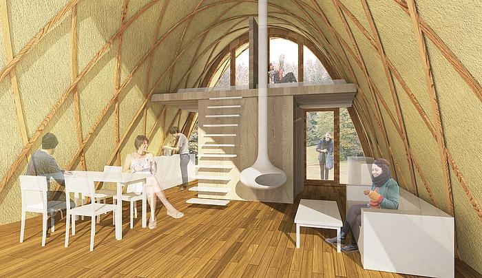 Grafische Abbildung des Strohboid als Ferienhausvariante von innen mit Eßplatz, Kamin und Sofa.