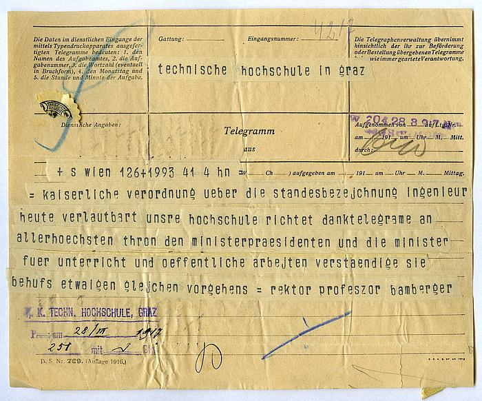 """Telegramm aus dem Jahr 1917, gerichtet """"an die Technische Hochschule in Graz"""", das mit dem Wortlaut """"= kaiserliche verordnung über die standesbezeichnung ingenieur"""" beginnt."""
