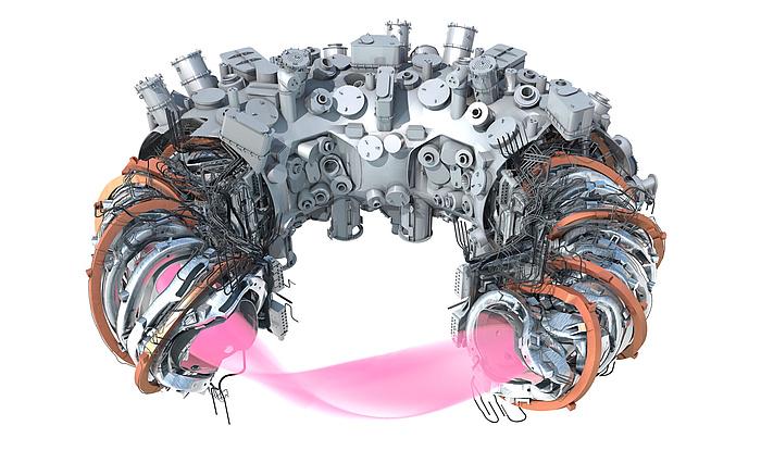 Computergrafik von Plasma, Magnetspulen samt Verkabelung und Kühlleitungen, innerer Stützstruktur sowie Teilen der Außenhülle der Fusionsanlage Wendelstein 7-X.