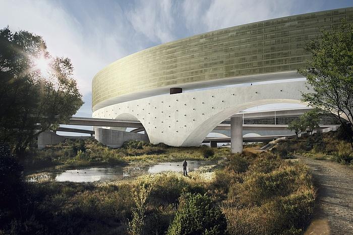 Grafische Darstellung mit Blick auf ein Detail des ringförmigen Gebäudes, umgeben von wundervollem Grünland.