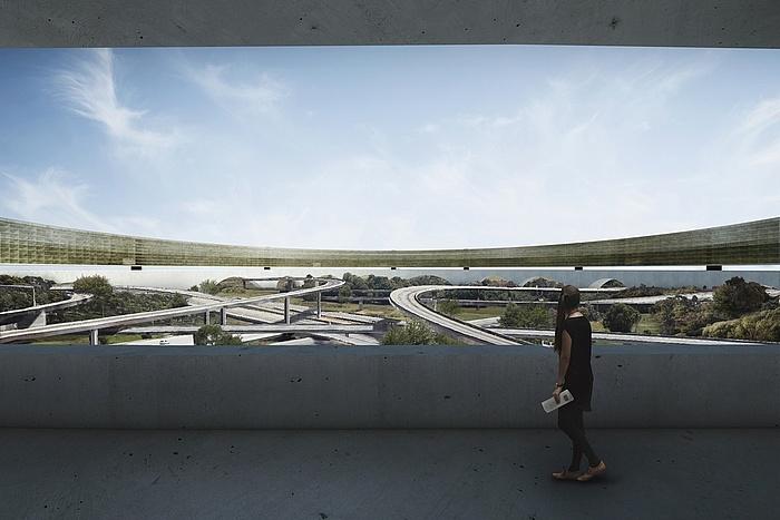 Simulation des Blicks von einem Gebäude auf die als Grünflächen genutzten Flächen zwischen der Interstate 710 und der Interstate 105.