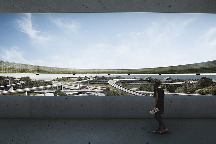Graphics of the view from a building down onto the future green areas between the Interstate 710 and Interstate 105 city freeways.