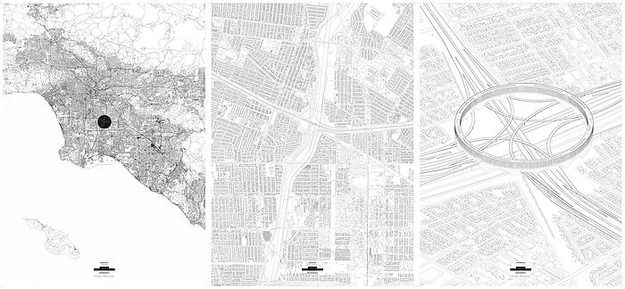 Grafische Darstellung des ringförmigen Gebäudes, das die Restflächen des Verkehrsknotenpunktes zugänglich macht, in 3 Detailstufen.