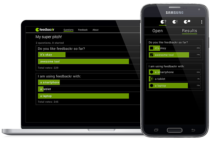 Die Benutzeroberfläche von feedbackr ist auf einem Smartphone und einem Tablet zu sehen.