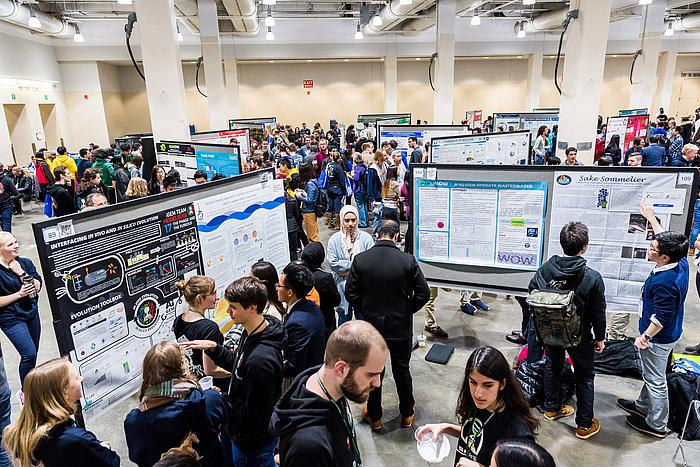 Studierende aus aller Welt vertieft ins Gespräch und ins Studium zahlreicher Poster auf Stehern in einem großen Raum.