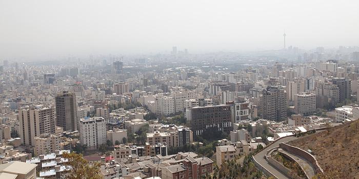 Blick von oben auf Teheran.