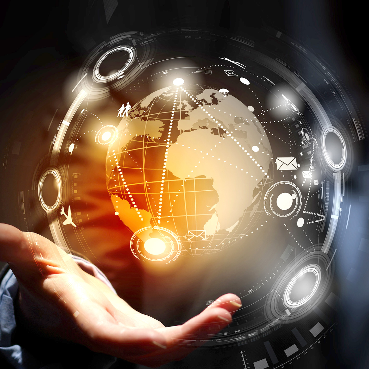 Man holding a digital globe with a network. Photo source: Sergey Nivens - Fotolia.com