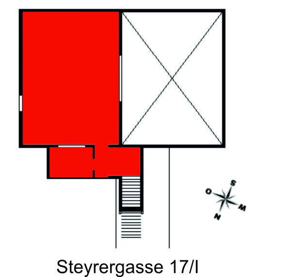 Darstellung der Räumlichkeiten des Institutes in der Steyrergasse 17, 1. Stock