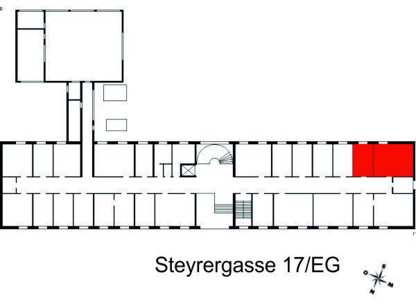 Darstellung der Räumlichkeiten des Institutes in der Steyrergasse 17, Erdgeschoss