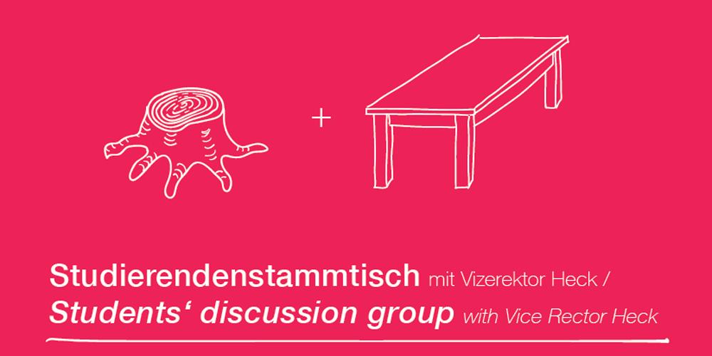 Text im Bild: Studierendenstammtich mit Vizerektor Heck, Bildquelle: TU Graz
