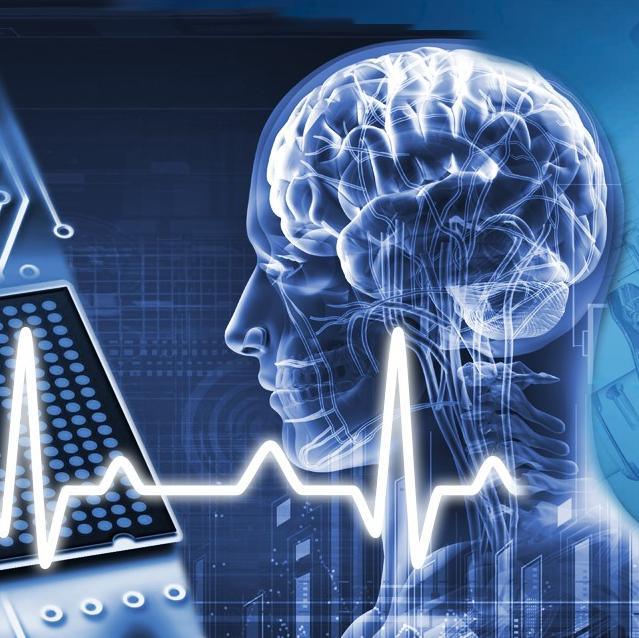 Abbildung eines Kopfes mit Gehirn und Hirnströme. Bildquelle: iStock.com