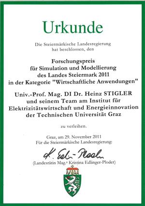 Urkunde Forschungspreis für Simulation und Modellierung des Landes Steiermark 2011 in der Kategorie Wirtschaftliche Anwendungen