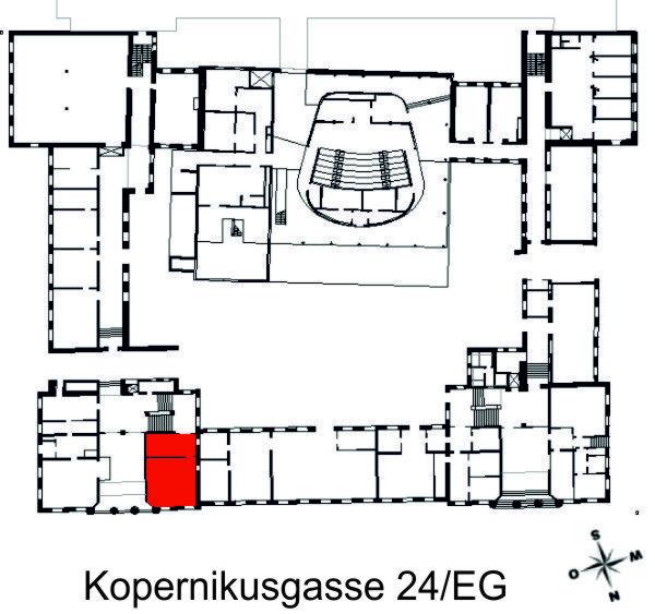 Darstellung der Räumlichkeiten des Institutes in der Kopernikusgasse, Erdgeschoss