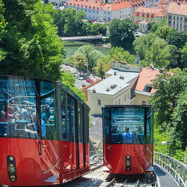 Furnicular to the Schlossberg, Graz. Photo source: Graz Tourismus - Harry Schiffer