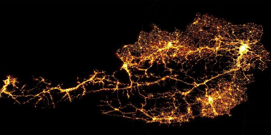 Österreichkarte mit Leuchtpunkten