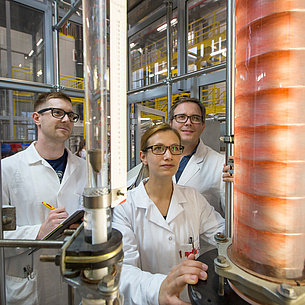 Researchers in a biorefinery.
