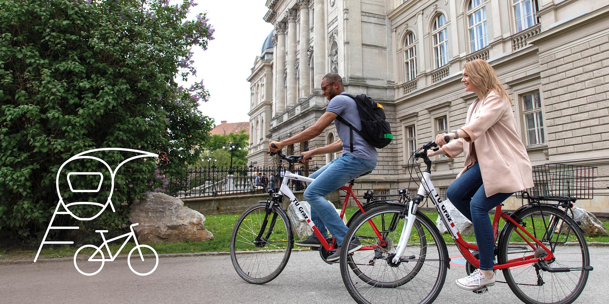 2 people on TU Graz bikes