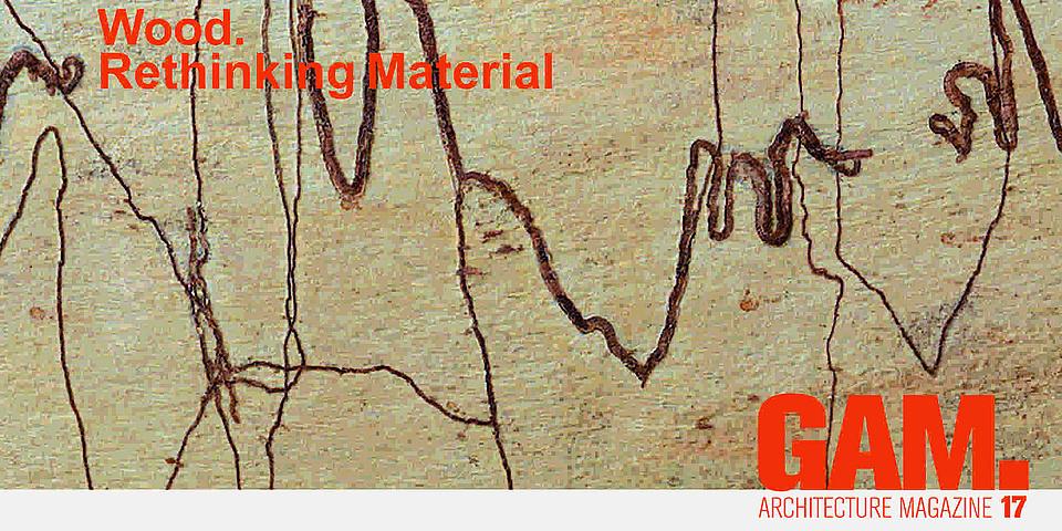 """Beiger Hintergrund durchzogen von braunen Linien mit der orangen Aufschrift """"Wood. Rethinking Material"""" GAM.17 Architecture Magazine."""
