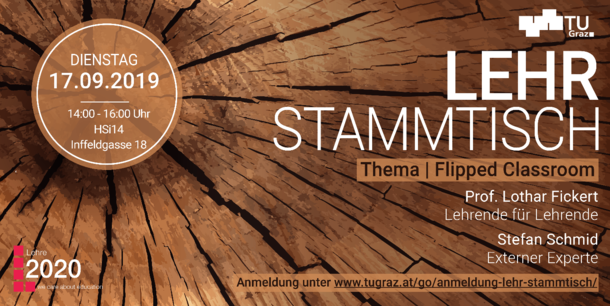 "Tree trunk and text on the image: ""Lehrstammtisch Thema Flipped Classroom"""