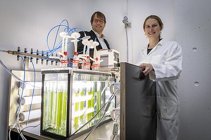Ein Mann und eine Frau hinter einer beleuchteten Glasbox mit grüner Flüssigkeit.
