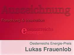 """Roter Hintergrund mit Text """"Auszeichnung Forschung und Innovation"""""""