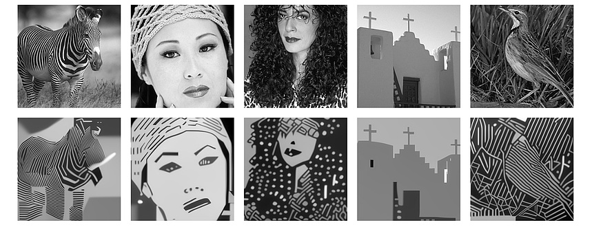 Originalfotos und Gegenüberstellung von algorithmusbasierten Berechnungen