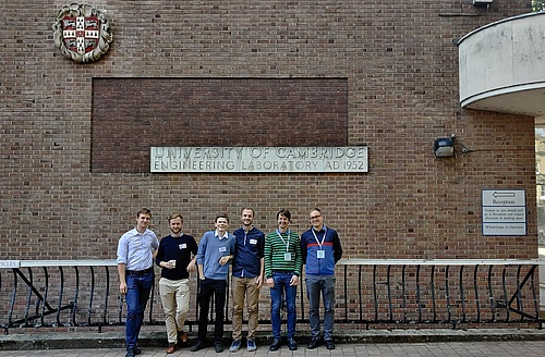 a group of researchers of the institute in front of the Cambridge University Engineering Department