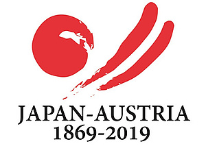 Logo 150 years anniversary of diplomatic relations between Japan and Austria