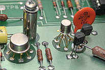 Various electronic components in through whole technology.
