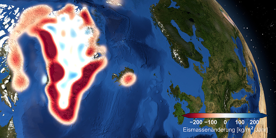 Grafik der Erde, aufgenommen aus dem Weltall, das Land Grönland ist in weißen und roten Farben dargestellt, die den Eismassenverlust zeigen, andere Kontinente sind grün