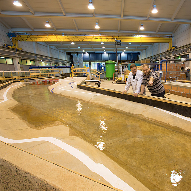 Huge modell of a river in an exhibition hall. Photo source: Lunghammer - TU Graz
