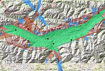 Abschattungsdiagramm eines Multilaterationssystems im alpinen Gelände