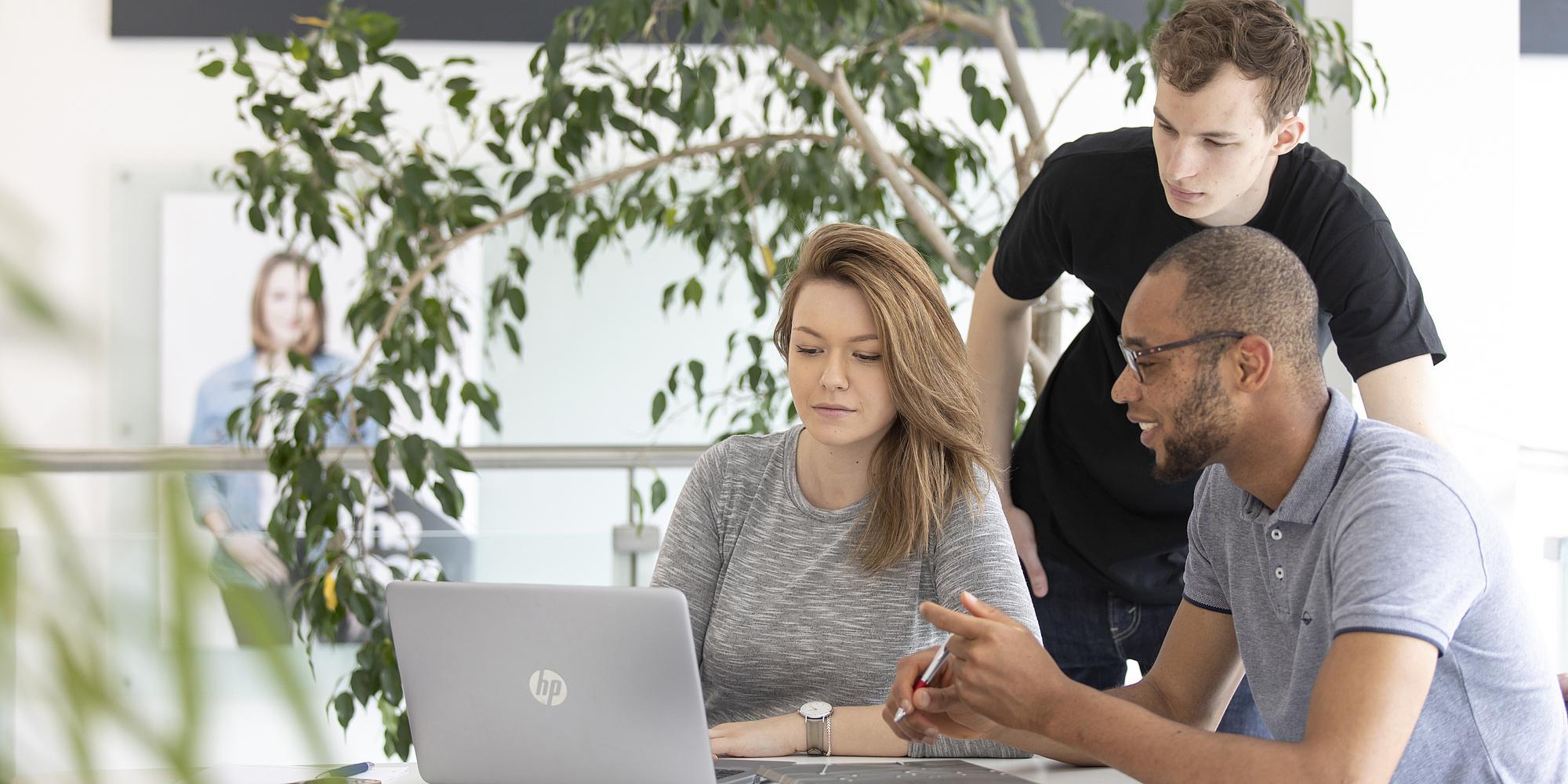 Zwei Studierende sitzen mit einem Notebook an einem Tisch. Dahinter steht ein Student und blickt auf den Bildschirm.