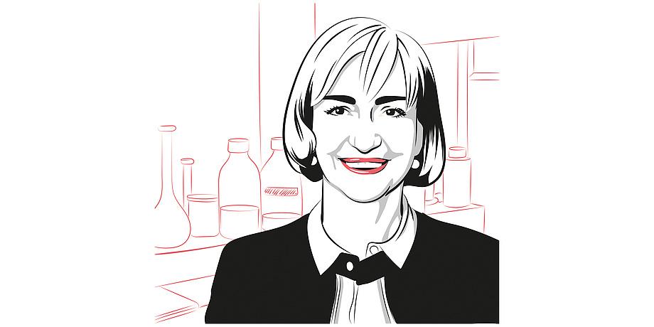 Eine Zeichnung von Karin Stana Kleinschek. Im Hintergrund ist ein schematisches Labor zu sehen.