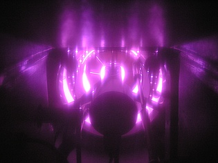 Combustor of the air heater seen from behind through an inspection hole during acoustic measurements on November 5, 2008.