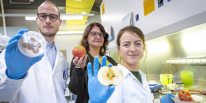 Drei Personen stehen in einem Labor. Links steht ein Mann mit einem Labormantel und einer Brille. Er hält einen durchsichtigen Probenbehälter mit einer braunen Masse in der Hand. In der Mitte steht eine Frau mit einem schwarzen Blaser. Sie hält einen roten Apfel in der Hand. Rechts sitzt eine Frau mit einem Labormantel. Sie hält eine aufgeschnittene Hälfte eines Apfels in der Hand.