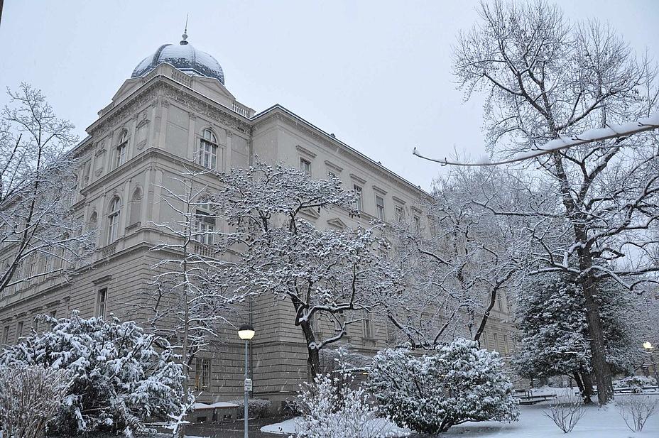 Historisches Universitätsgebäude in verschneiter Winterlandschaft.