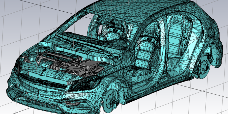 A model of a car done in a simulation software. The car is made out of blue strings.