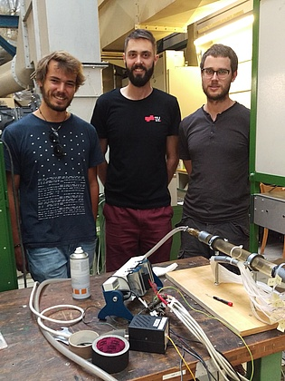 Master student Marian Staggl (left) investigates the flow through a human nose with the support of our research assistants Manual Zenz and Felix Greiffenhagen. The experimental setup is on the bottom right.
