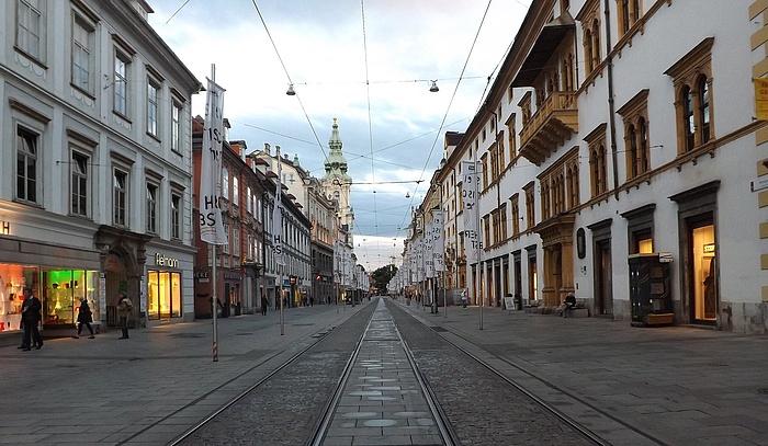 Empty street in the city center of Graz.