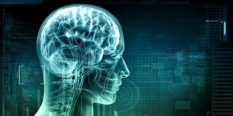 Ein schematischer Kopf auf blauem Hintergrund