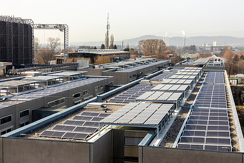 Dachlandschaft mit Photovoltaikpaneelen