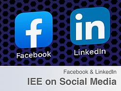Facebook und LinkedIn Logo auf gemusterten Hintergrund.